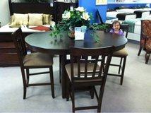pub height table with 4 chairs and leaf in Fort Drum, New York