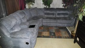 Blue micro-suede Sleeper,recliner L-Sectional 3 piece couch Set in Fort Campbell, Kentucky