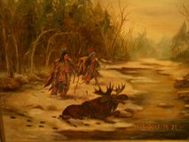 Native American Moose Hunt- Oil Painting in Kingwood, Texas