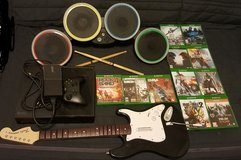 XBOX gaming system with guitar, drum and 11 games in Lawton, Oklahoma