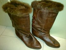 Brown Leather Boots w/Faux Fur Size 7 in Ramstein, Germany