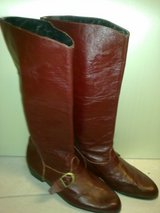 Burgundy Leather Boots Size 7.5/8 in Ramstein, Germany