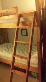KIDS BUNK BEDS WITH LIKE NEW MATTRESSES W/ POTTERY BARN BEDDING INCLUDED in Brookfield, Wisconsin