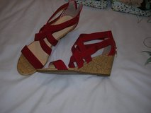 RED   WEDGE   SHOES     LIZ CLAIBOURNE   TEXT   07857625942 in Lakenheath, UK