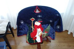 Christmas Tree Skirt - Dark Blue with Lg Snowman.  Heavy Velvet material in Cherry Point, North Carolina