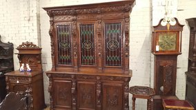 Stained glass Carved Oak Bookcase Free Delivery Others Available in Lakenheath, UK