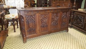 Stunning Carved Oak Gothic Trunk Free Delivery in Lakenheath, UK