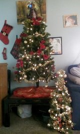 Christmas tree with ornaments and lights in Fort Campbell, Kentucky