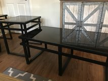 Black Glass and Metal Coffee Table and 2 End Tables (Ashley Furniture) in Fort Benning, Georgia