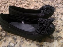 Girls Black Sparkle & Beaded Bow Dress Shoe Size 2 in Naperville, Illinois