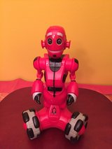 Red walking robot in Plainfield, Illinois