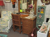 Stately Wicker Vanity  Desk With Matching Mirror And Chair in Camp Lejeune, North Carolina
