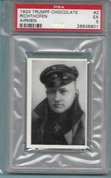 SUPER RARE AUTHENTIC 1933 RED BARON WW1 HERO CHOCOLATE CARD in Ramstein, Germany