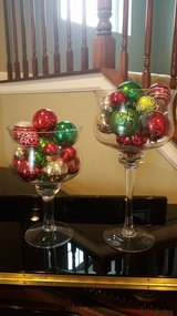 Christmas glass decor pair in New Lenox, Illinois
