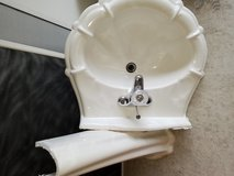 Heavy marble pedestal sink in CyFair, Texas