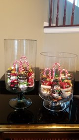Christmas glass decor pair 2 in New Lenox, Illinois