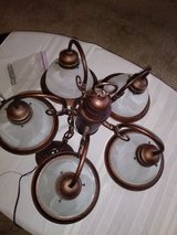 Beautiful 5 light Chandelier - Bronze / Copper metal finish with white glass light covers in Naperville, Illinois