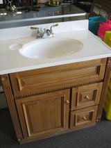 GREAT DEAL !  OAK VANITY  WITH MIRROR AND LIGHTS !!!! in 29 Palms, California