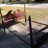 Double wood bed frame in Beaufort, South Carolina