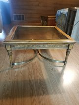 Coffee table: wood, glass, brass in Denton, Texas