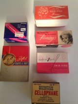 Vintage boxes of hair supplies in Naperville, Illinois