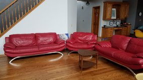3 pc set Italian Red Genuine Leather Sofa Set Loveseat Chair in St. Charles, Illinois
