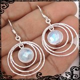 New - NATURAL FACETED RAINBOW MOONSTONE 925 STERLING SILVER EARRINGS in Alamogordo, New Mexico