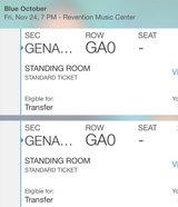 2 Tickets- Blue October at Revention Center Friday 11/24 in Houston, Texas