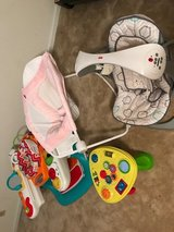 2 baby bouncies, spin seat playset, and activity table in Warner Robins, Georgia