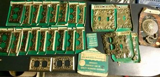 Mid century, ornate, new old stock, solid brass wall outlet & light switch covers in Warner Robins, Georgia