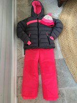 Girls Size 10 Pink and Gray Snow Suit - Snow Parka, Snow Pants, Hat & Gloves in Glendale Heights, Illinois