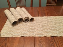 burlap and lace table runner in Shorewood, Illinois