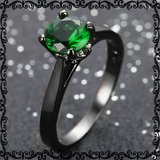New - Dainty Green Emerald Quartz and Black Ring - Sizes 7 and 8 in Alamogordo, New Mexico