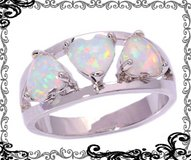 New - White Fire Opal Hearts Ring - Sizes 5 and 8 in Alamogordo, New Mexico