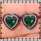 New - Green Quartz and Black Heart Stud Earrings in Alamogordo, New Mexico