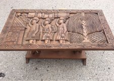 Tribal carved wooden table in Schaumburg, Illinois