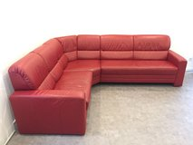 Xxl corner couch, real leather in Ramstein, Germany