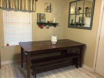 Solid Oak Trestle Table With Benches in Camp Lejeune, North Carolina