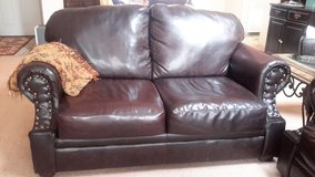 Beautiful Mahogany Leather Sofa and Loveseat With Clavos in Alamogordo, New Mexico