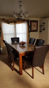 Beautiful genuine marble-topped 7-piece dining room set in Alamogordo, New Mexico
