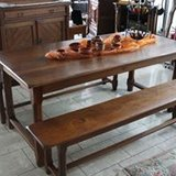 solid oak dining room set with 2 benches in Baumholder, GE