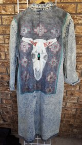 Hand painted Denim long coat in Alamogordo, New Mexico