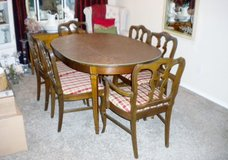 Beautiful Antique Wood Table with (6) Chairs and Two Extensions in Conroe, Texas