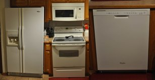 4 Piece kitchen appliance set (Fridge, Stove, Dishwasher, OTR Microwave), white in Fort Leonard Wood, Missouri