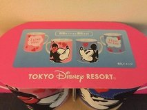 "Tokyo Disney Resort Coffee cups Mickey Minnie Mouse - Hot water activated back ""Love you"" in Okinawa, Japan"