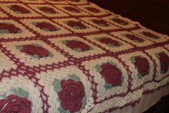 Handmade Crochet Rose Pattern Bed Coverlet/Topper REDUCED in Warner Robins, Georgia