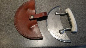 Handmade alaskan ulu style knife with leather sheath in Camp Lejeune, North Carolina