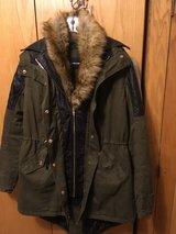 OLIVE GREEN COAT WITH REMOVABLE FAKE FUR LINING in Lakenheath, UK