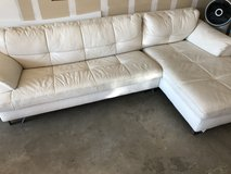 White leather couch and chair in Columbus, Georgia