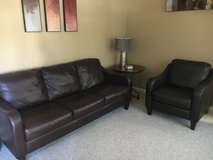 Leather sofa and chair in Wheaton, Illinois